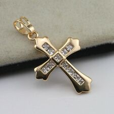 Cross Nice White CZ Yellow Gold Filled Fashion Jewelry Gift Pendant d010