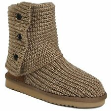 Ladies Womens Cardigan Knitted Shoes Warm Winter Fashion Mid Calf Boots F-359