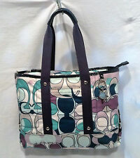 Coach F17178 Kyra Multicolor Scarf Print Blue Tote Convertible Bag