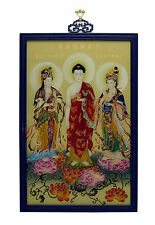 Superb Vintage Chinese Buddhist Reverse Glass Painting Wall Hanging Plaque