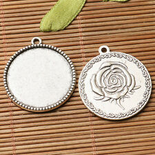 6pcs dark silver flower pattern  round shaped cabochon setting in 25mm EF3261