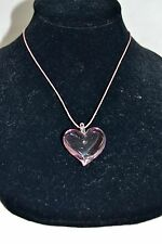 YUMMI MURANO PINK GLASS HEART PENDANT NECKLACE