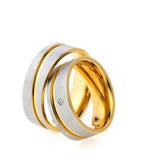 2 Anello Di Fidanzamento Fedi Nuziali Diamante Brillante Bicolore & Incisione