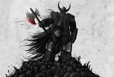 A3 Poster – Viking God Odin Standing on a Pile of Human Skulls (Picture Print)