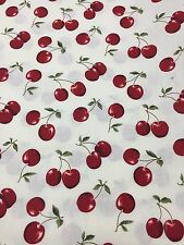 Cherries On White Background Cotton Fabric Quilt Sew Remnant 28X36 OOP