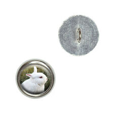Bunny Rabbit White - Easter - Metal Craft Sewing Novelty Buttons Set of 4