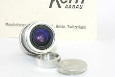NEAR MINT Kern / Bolex Paillard PIZAR 5.5mm f1.9 AR wide angle D mount lens,8mm