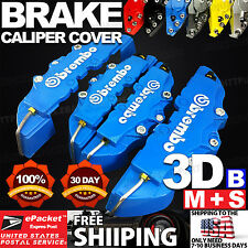 3D Universal Style Brembo Brake Caliper Cover front and rear 4 pcs Blue LW03