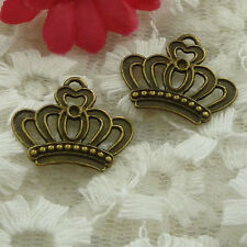 free ship 180 pieces bronze plated crown charms 22x18mm #2525