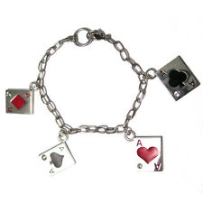 "Four of a Kind ACES - POKER 8"" Charm Bracelet Chain texas hold 'em up chips"