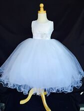 White Flower Girl Bridesmaids First Communion Baptism Easter Lace Dress #15