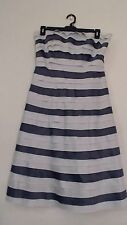 NEW SIZE 12 WOMEN'S 2 TONE BLUE STRIPED STRAPLESS LINED EVENING DRESS BY ELIZA J