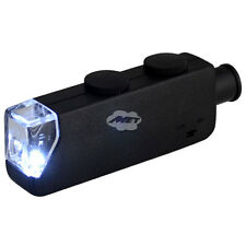 Protable Mini LED Light 60X-100X Magnifier Microscope Jeweler Loupe Black