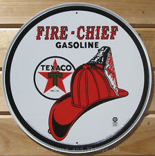 Texaco Fire Chief Gasoline ROUND TIN SIGN vtg gas station metal wall decor 204