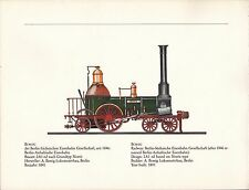 VINTAGE RAILWAY GERMAN TRAIN ENGINES PRINT ~ BORSIG BERLIN-SACHSISCHE
