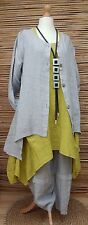 LAGENLOOK BEAUTIFUL 3 PCS OUTFIT JACKET+DRESS+TROUSERS*GREY/LIME*BUST UP TO 46""