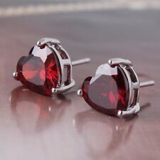Shining 18K white gold filled Unique party garnet heart stud earring
