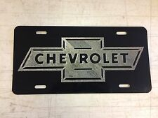 Antique Chevrolet LOGO Car Tag Diamond Etched on Black Aluminum License Plate