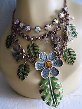 BETSEY JOHNSON ASIAN JUNGLE KOALA BEAR FLOWER LEAF CHARM STATEMENT NECKLACE~RARE