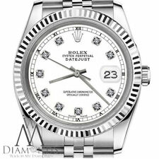 White Diamond Rolex 26mm Datejust Black Track Steel & 18K Gold Jubilee Watc