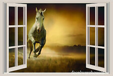 Horse & Sunset Window View Repositionable Color Wall Sticker Wall Mural 3 FT