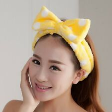 1PCS Yellow Big Bow Dot Soft Towel Hair Band Wrap Headbands For Bath Spa Make Up
