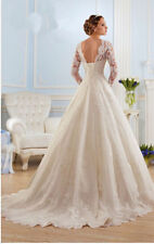 2016 white / Ivory tulle and lace wedding dress wedding dress with long sleeves