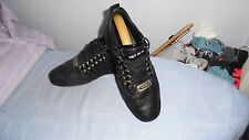 MENS DSQUARED2 BLACK LEATHER COLOUR LACE-UP SNEAKERS SIZE UK 8