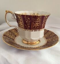 """""""Sovereign Red"""" Elizabethan English China Tea Cup & Saucer. Gold Rim. Chintz."""