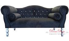 Gorgeous Black Velvet Diamonte Studded Double Ended Chaise Sofa