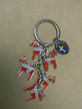 Scandinavian Swedish Dala Horse Keyring with 5 Horse Charms