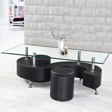 3PC Black Rectangle Tempered Clear Glass Top S Shelf Coffee Table PU Ottoman Set