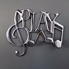 Polished Aluminium / Chrome Treble Cleff PLAY Music Coat Hook Rack 27cm x 22.5cm