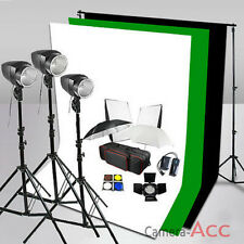540W Flash Lighting Kit Green/Black/White Backdrop Background Stand Photo Studio