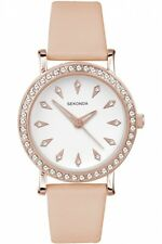 Sekonda Ladies Watch 2027 Rose Gold Plated Nude Leather Strap RRP £39.99