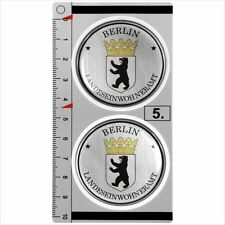Berlin​ set of 2 German Number Plate Seal Stadt 3D Domed Resin Sticker Badge