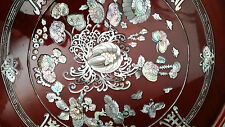 Korean Artisian 1950's Laquered Deep Reddish Hue Mother-of-Pearl Inlaid Table