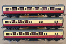 HORNBY RAKE of 3 BR MAROON CREAM MAUNSELL1st & 2nd CLASS BRAKE COACH nj