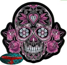 Sugar Skull PATCH RICAMATE aufbügler biker moto rocker Day of Dead Harley