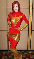 X-Men Jean Phoenix Metallic Gold&Plain Red Unisex Lycra Zentai Bodysuit Catsuit