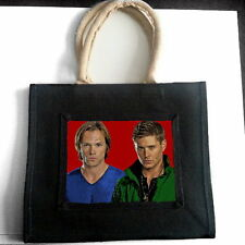 SUPERNATURAL JARED PADALECKI JENSEN ACKLES JUTE TOTE SHOPPING BAG PHOTO FAN GIFT
