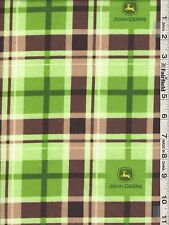 John Deere Logo Plaid Snuggle Flannel Fabric bty