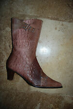 Shades of Mauve Pink Croc Embossed MAGGIO & ROSSETTO Mid-Calf Boots EU 39 US 8