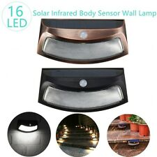 Solar Powered Waterproof PIR Sensor Bright LED Wall Light Stairway Step Pure Whi