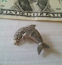 DOLPHIN PIN STERLING SILVER MARCASITE Fish MD 925