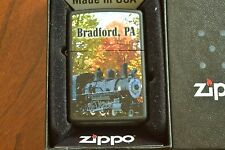 ZIPPO Lighter, Bradford PA - Train Engine, Black Matte, 2012, Sealed, M1128