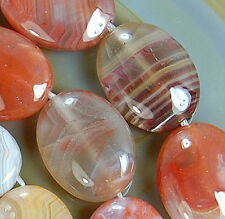 12x16mm Natural Red Persian Gulf Agate  Flat Oval Beads 16""
