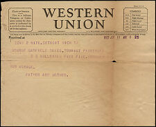 USA 1923 - Western Union Telegram to Paquebot SS Volendam