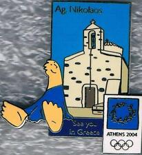 LE 2004 Athens Olympic Mascot See You in Greece Agios Nikolaos-Crete Pin