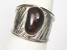 RARE BOLD MEXICAN FIRE AGATE CIGAR BAND RING STERLING SILVER SETTING UNISEX